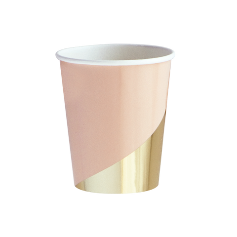 Blush and Gold Colorblock Paper Cups
