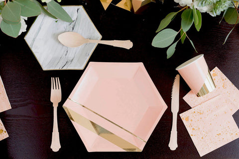 Blush Hexagon Large Paper Plates