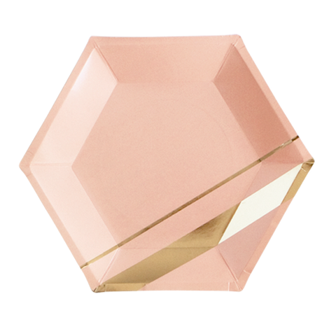 Blush and Gold Hexagon Paper Plates