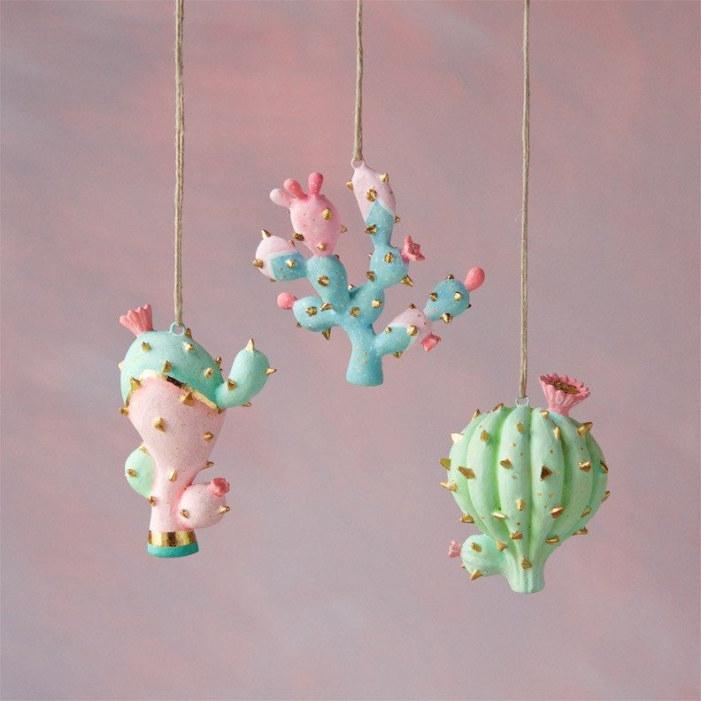 Resin Cactus Ornaments