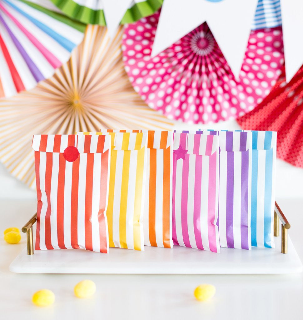 Colorful Stripe Treat Bags