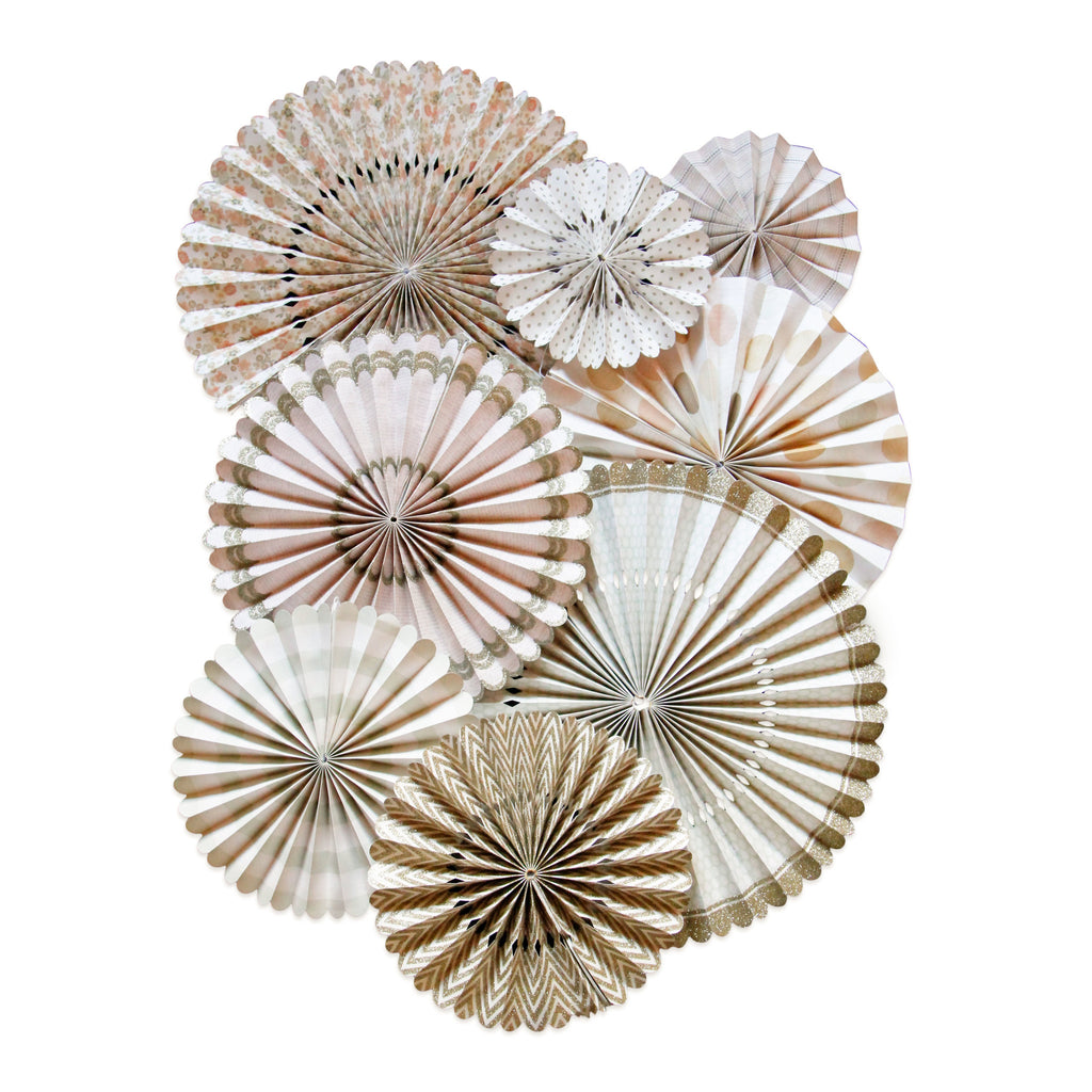 These light pink, cream, gray and gold glitter paper fans are the perfect decoration or backdrop for any celebration!