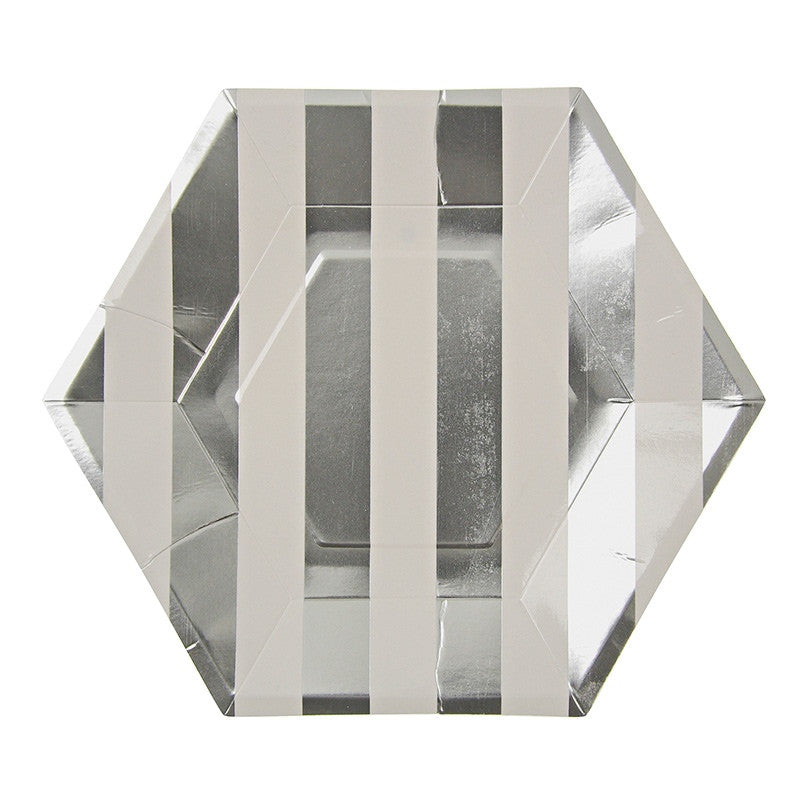 These fabulous silver & white stripe paper plates will add a little more glitz and glam to your event.