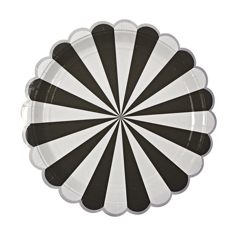 These fabulous black & white stripe paper plates have a special silver foil scalloped edge to add a little more glitz and glam to your event!