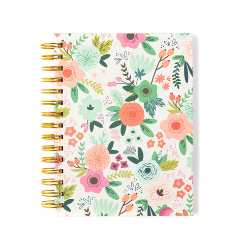 Spiral bound floral notebook - 6 x 8 inches
