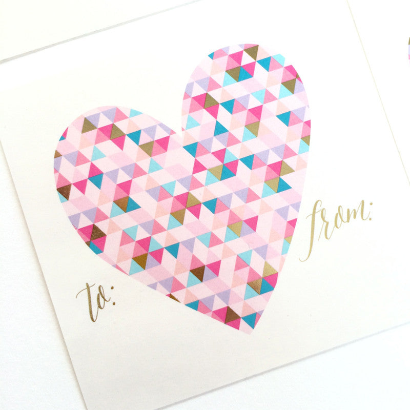 Geometric Heart Sticker Tags