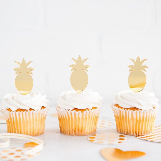Gold Pineapple Acrylic Cupcake Toppers