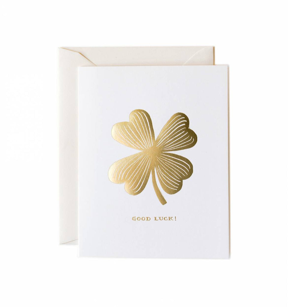 Good Luck Gold Clover Greeting Card