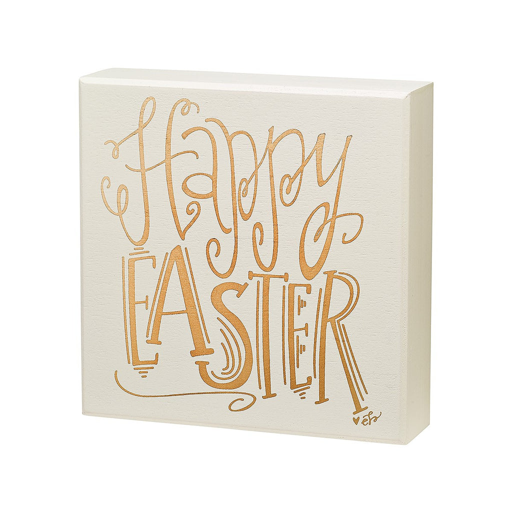 Happy Easter box sign with gold hand lettering