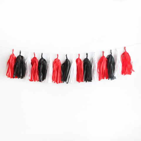 Hey Valentine Red White & Black Tissue Tassel Garland