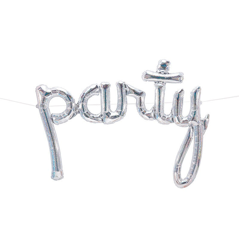 Silver Holographic Script Party Balloon