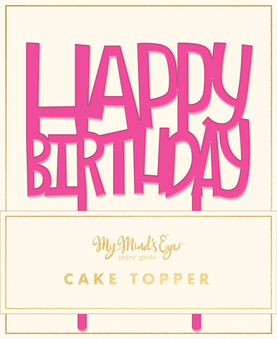 Neon Pink Birthday Cake Topper