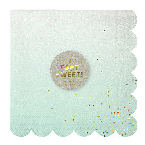 Meri Meri large ombre napkins in shades of pink, mint, yellow and blue
