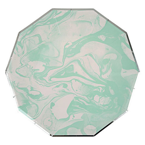 Mint Marble Large Paper Plates
