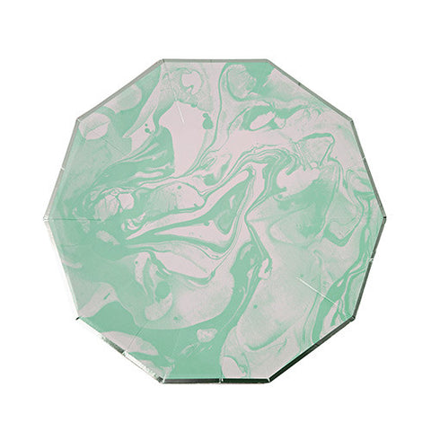 Mint Marble Small Paper Plates
