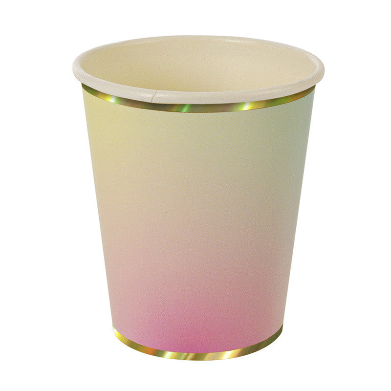 ombre paper cups with gold foil edge on top and bottom of cup