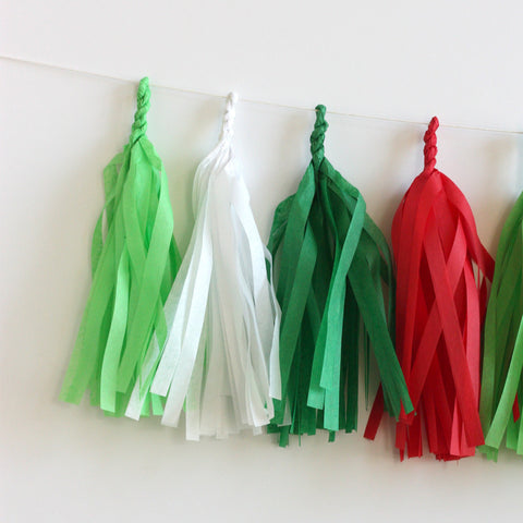 Merry Everything Tissue Tassel Garland