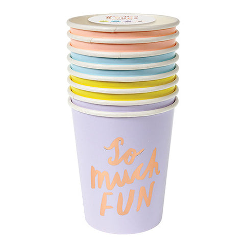 Pastel Cups with Rose Gold Lettering
