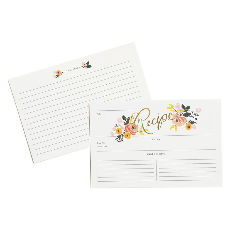 Rifle Paper Co. peony floral recipe cards