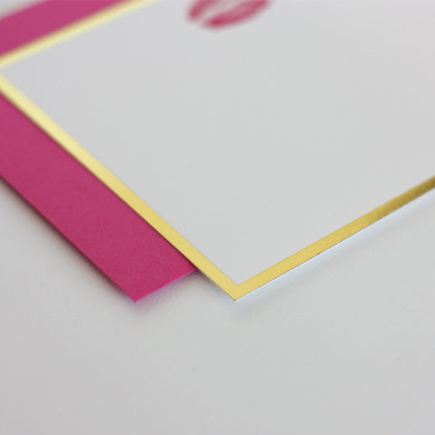 Pink Lips Notecard Set with Gold Foil Trim
