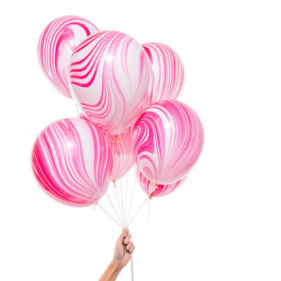 Pink & White Marble Balloons