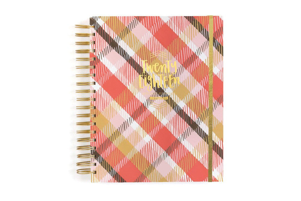 Pretty Pink Plaid 17 month Planner
