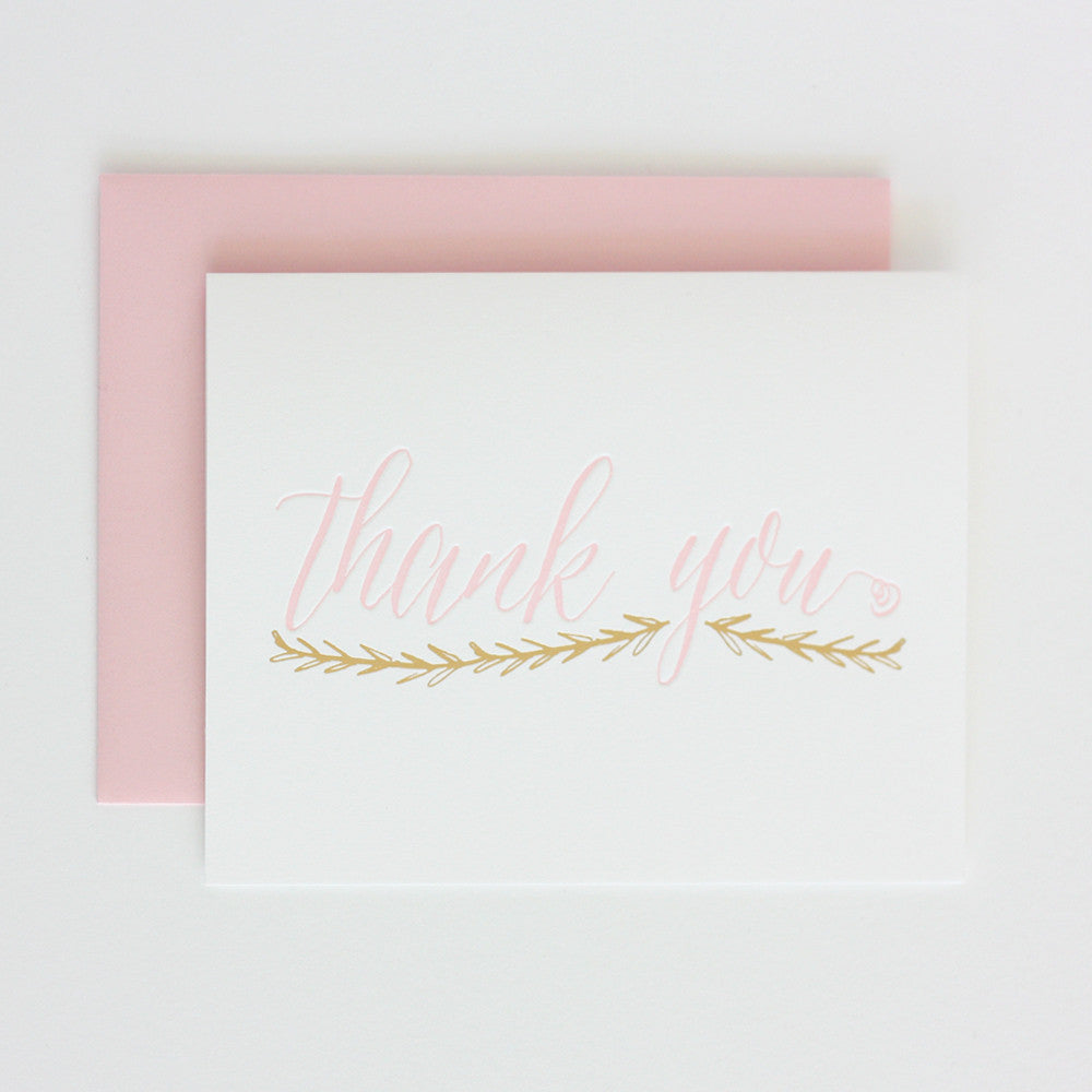 Light Pink & Gold Foil Thank You Floral Swag Card