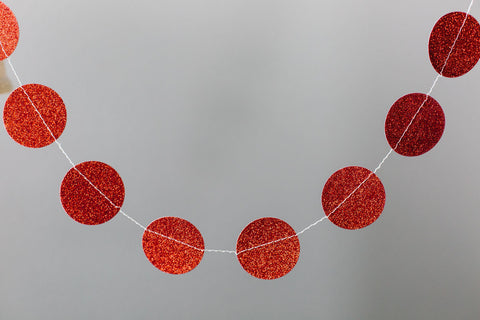 Red Glitter Mini Circle Banner