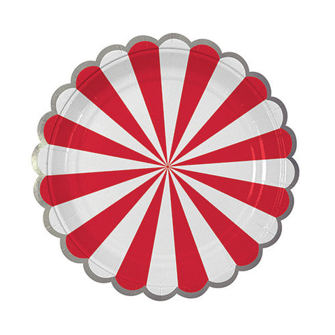 Red & White Stripe Small Paper Plates