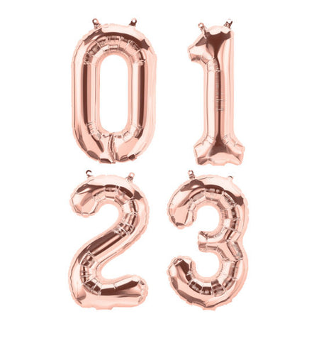 Rose Gold Small Mylar Numbers