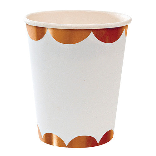 Rose Gold Foil Scallop Paper Cups