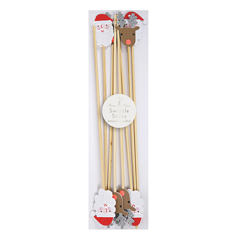 Santa and Reindeer Swizzle Sticks
