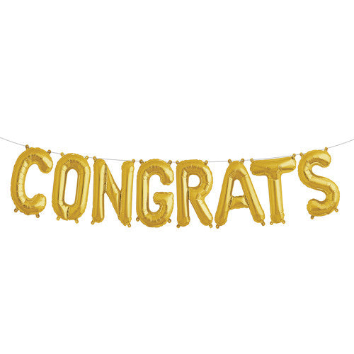 Gold mylar letter balloons spell CONGRATS for weddings, baby showers, graduation and more!