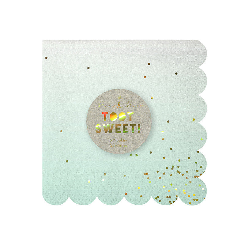 Meri Meri small ombre napkins in shades of pink, mint, yellow and blue