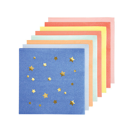 Small Napkins with gold foil stars