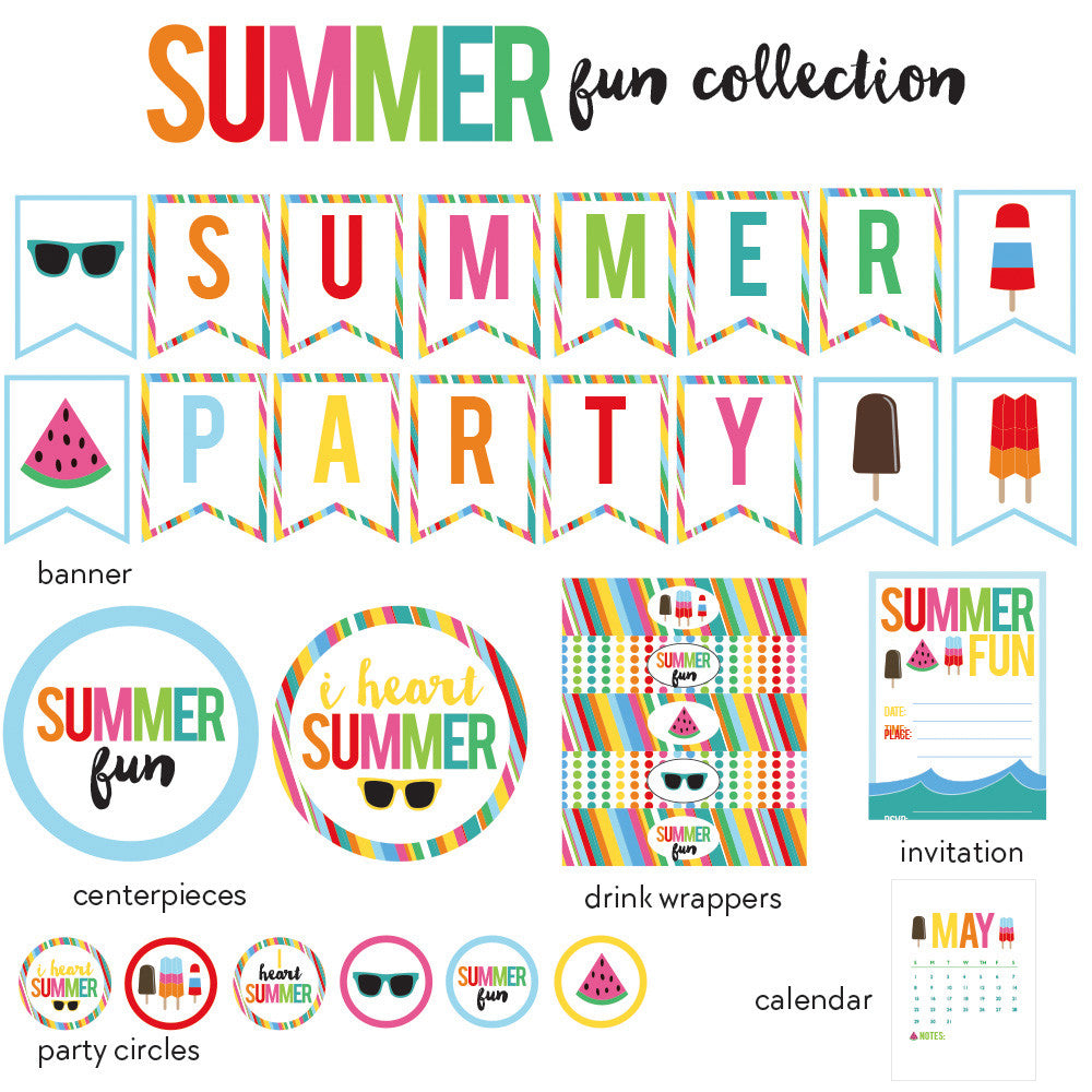 summer party printable collection featuring popsicles, sunglesses, watermelon and fun, bright colors
