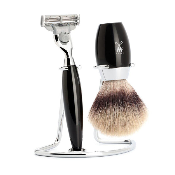KOSMO - shaving set Silvertip Fibre, 3-parts, Gillette® Mach3,  Sort kunstharpiks