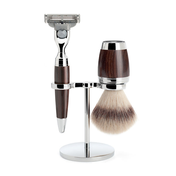 STYLO – Shaving set, Silvertip Fibres, 3-parts, Gillette® Mach3, African Blackwood