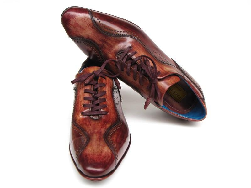 Paul Parkman Handmade Lace-Up Casual Shoes for Men Brown Hand-Painted (ID#84654-BRW) - dreadavinci