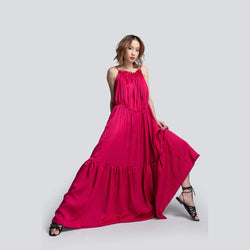 Mae Parachute Maxi Dress in Pink - dreadavinci