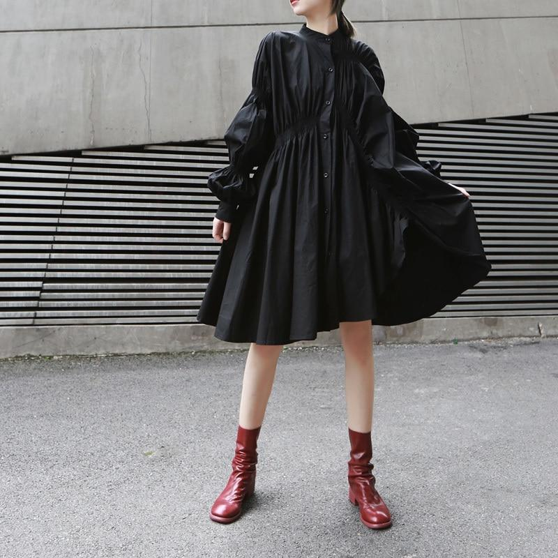 Hotaru Long Sleeve Pleated Shirt Dress - Black - dreadavinci