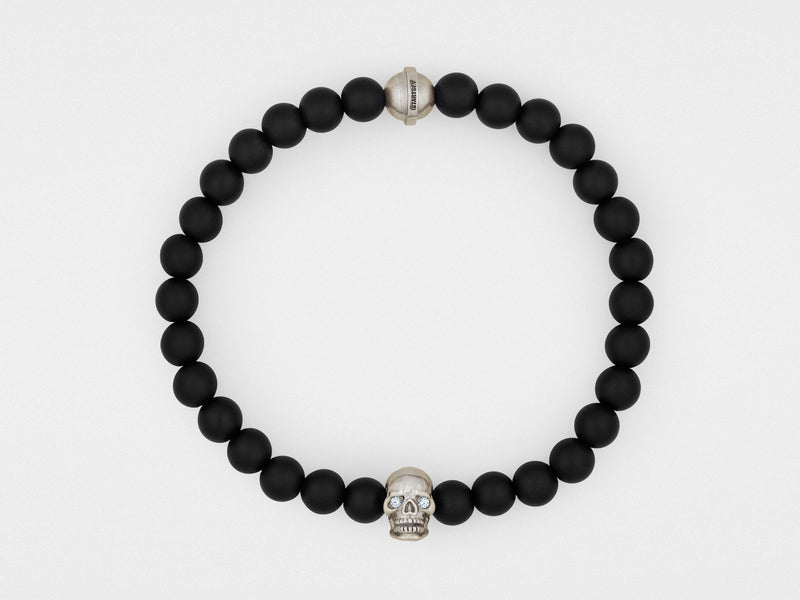Skull Bracelet in Sterling Silver With Diamond Eyes and Black Onyx - dreadavinci