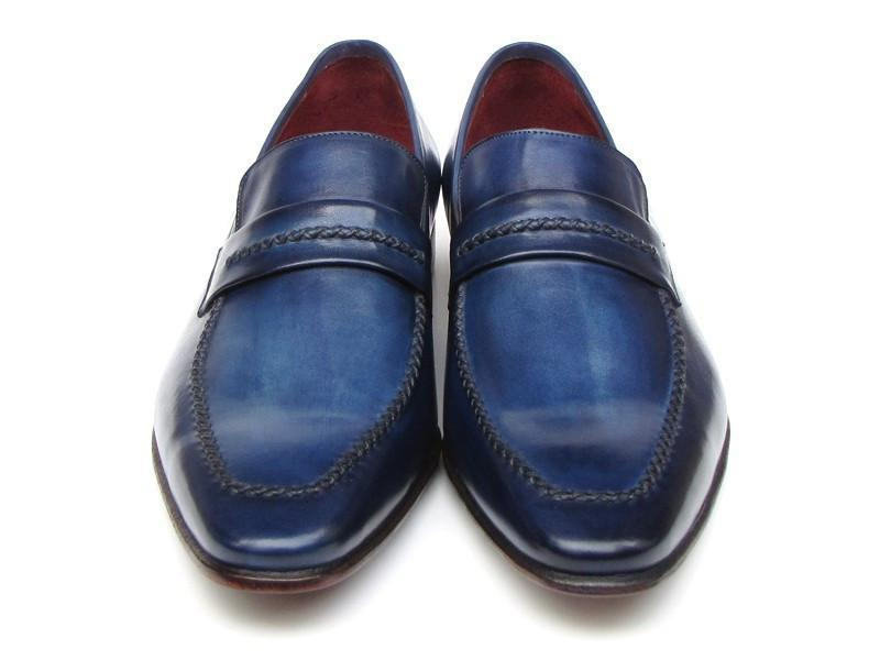 Paul Parkman Men's Loafer Shoes Navy Leather Upper and Leather Sole (ID#068-BLU) - dreadavinci
