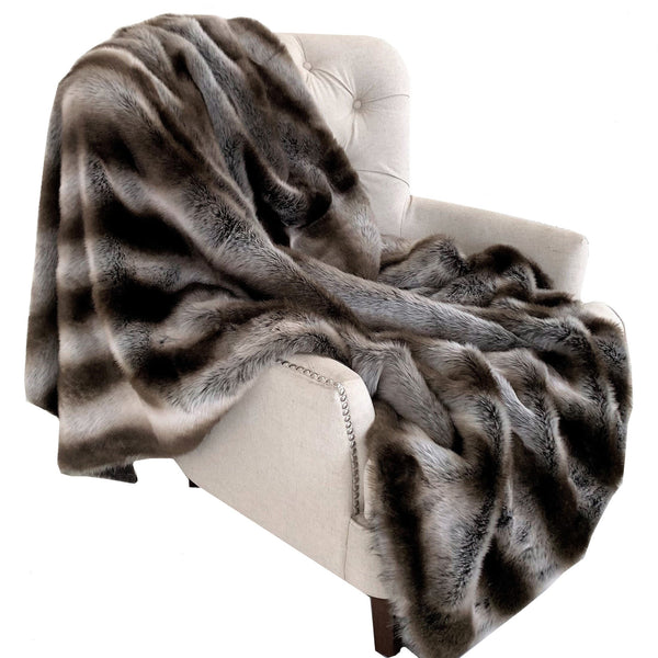 Fancy Gray Silver Chinchilla Faux Fur Handmade Luxury Throw - dreadavinci