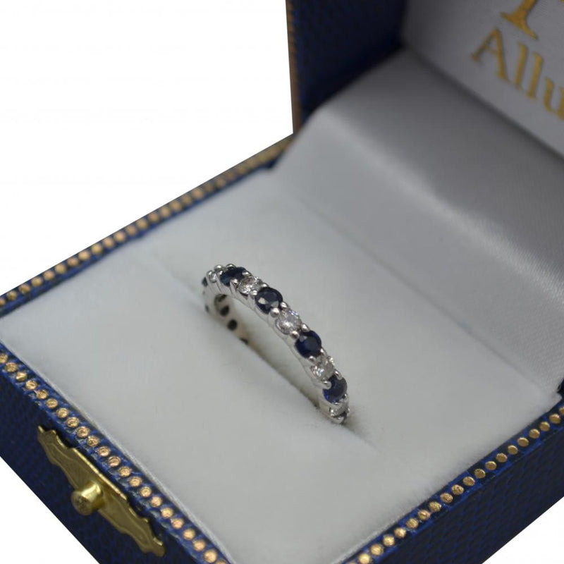 Eternity Diamond and Blue Sapphire Ring Band 14k White Gold (2.35ct) - dreadavinci