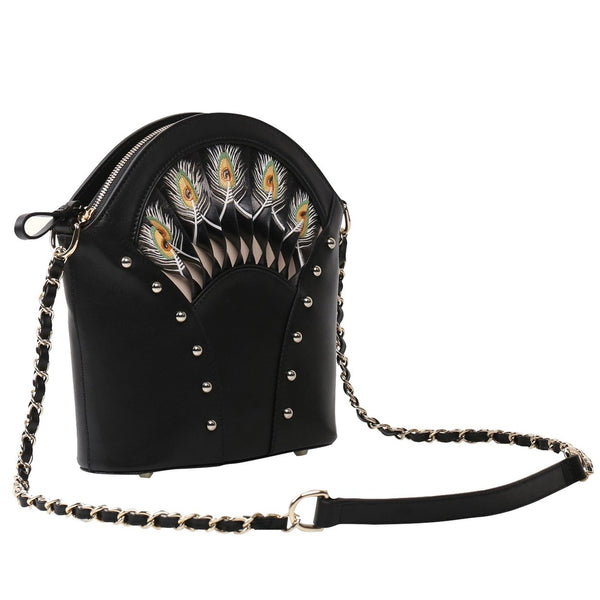 Feather Black Shoulder Bag - dreadavinci