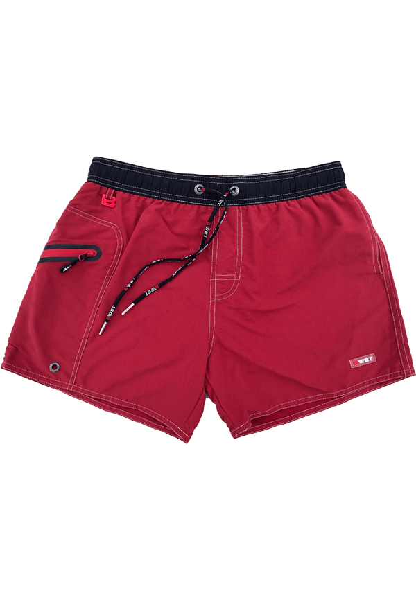 "Quick Dry UV Protection Perfect Fit Maroon Beach Shorts ""OZONE"" Right Pocket With Zipper Left Pocket - dreadavinci"