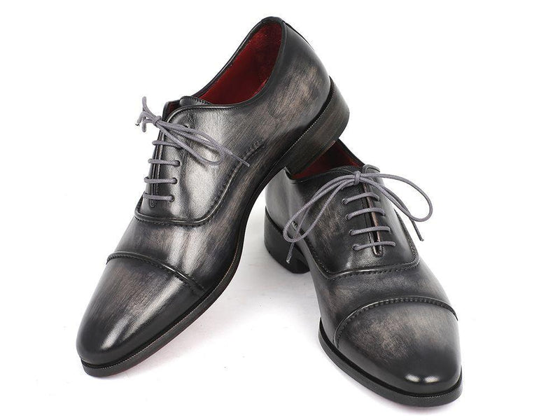 Paul Parkman Captoe Oxfords Gray & Black Hand Painted Shoes (ID#077-GRY) - dreadavinci