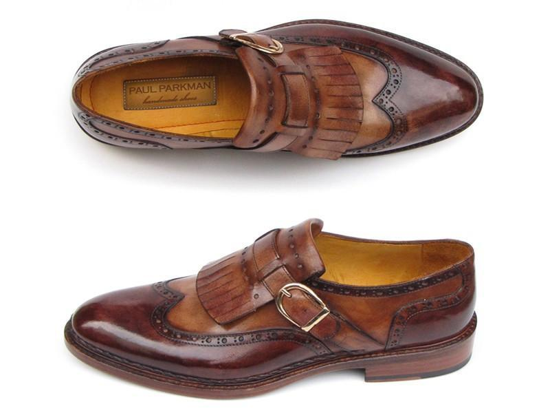 Paul Parkman Men's Wingtip Monkstrap Brogues Brown Hand-Painted Leather Upper With Double Leather Sole (ID#060-BRW) - dreadavinci