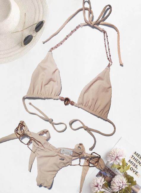 Tessa Triangle Top & Tie Side Bottom - Nude - dreadavinci